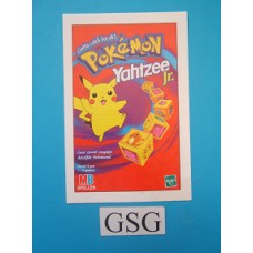Pokemon Yahtzee junior handleiding nr. 0200 41403 104-302