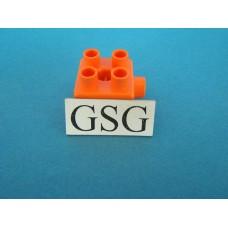 Steen oranje 2x2 zijaansluiting nr. 16386