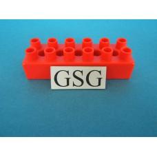 Steen rood 6x2 nr. 16393