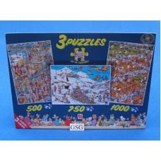 Jan van Haasteren  3 puzzels 500 750 1000 st nr. 80189-03