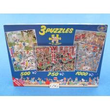Jan van Haasteren 3 puzzels 500 750 1000 st nr. 80105-02