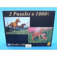 Paarden in galop & jonge herten 2x 1000 st nr. 90006-02