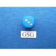 Blauwe dobbelsteen met gouden ogen nr. 60071-02